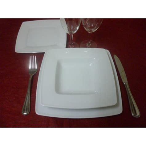 service de table assiettes carr 233 es 18 pi 232 ces en porcelaine blanche centre vaisselle sarl la