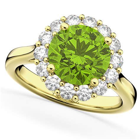Halo Round Peridot & Diamond Engagement Ring 14k Yellow. Large Blue London Engagement Rings. Modern Wedding Wedding Rings. Teardrop Engagement Rings. Party Rings