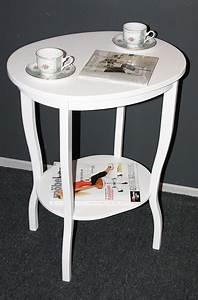 Tisch Weiß Holz : massivholz beistelltisch teetisch tisch oval 75 holz massiv wei ~ Markanthonyermac.com Haus und Dekorationen