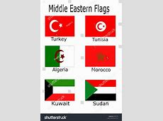 Middle Eastern Flags Turkey Tunisia Algeria Stock Vector