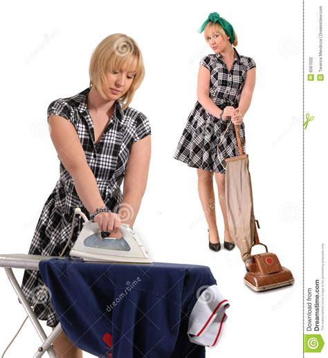 nettoyage et appuyer de femme au foyer photographie stock image 6567032
