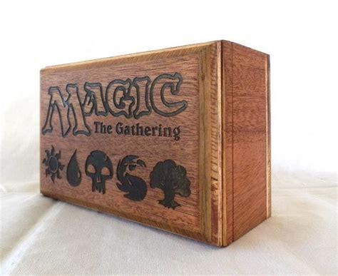 magic the gathering deck box mahogany wood holds 3 decks