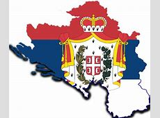 Greater Kingdom Of Serbia Map With Flag by