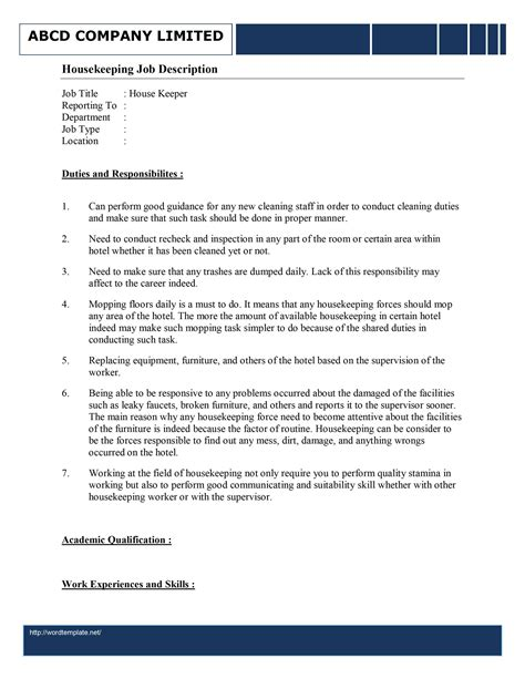Cover Letter, Resume And Job Description Templates For
