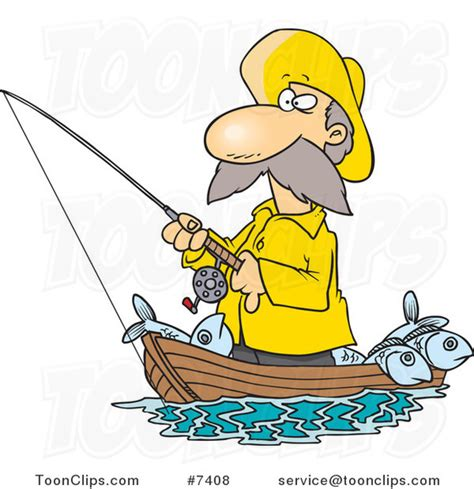 Cartoon Man In A Boat by Man Fishing In Boat Clipart Clipground