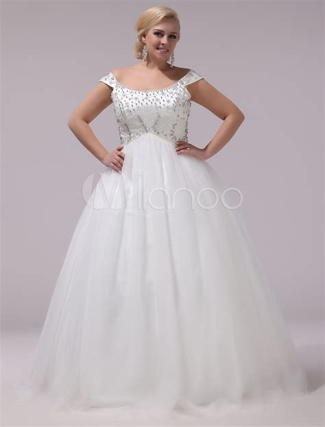 plus size wedding dress tulle rhinestones beading bridal gown the shoulder sleeveless a line