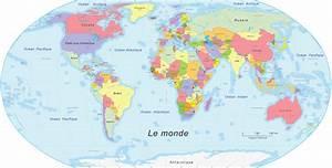 La carte du monde vue depuis différents pays