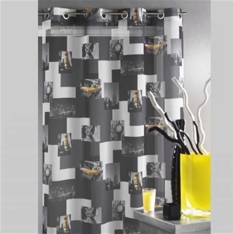 rideau imprim 233 new york 224 illets coloris gris pour grandes fen 234 tres en polyester acheter ce