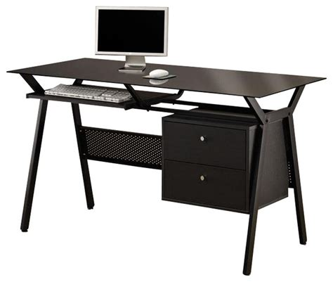 black simple metal glass 2 storage drawers pullout keyboard shelf computer desk contemporary