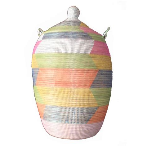 grand panier thies africain a linge multicolor terang