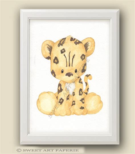 baby leopard safari nursery nursery decor print
