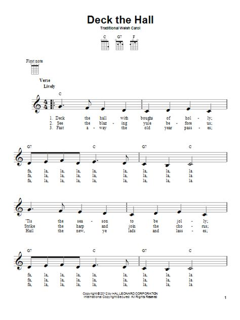 deck the by traditional carol ukulele