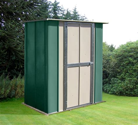 canberra 5ft wide x 3ft utility metal shed with flat roof and hinged door gardensite co uk