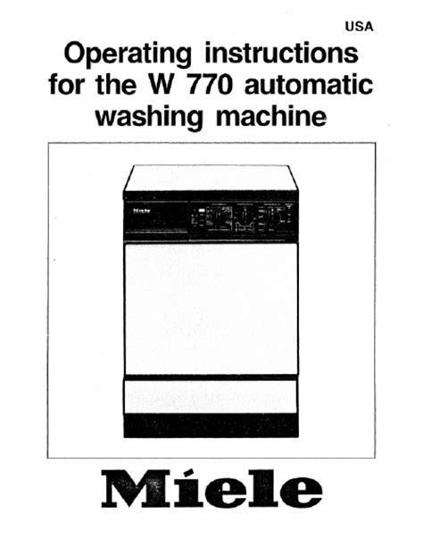 miele w 770 mode d emploi notice d utilisation manuel utilisateur t 233 l 233 charger pdf lave