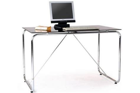 bureau chrom 233 avec plateau verre tremp 233 teint 233 noir bureau pas cher
