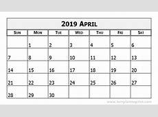 April 2019 Calendar Template calendar month printable