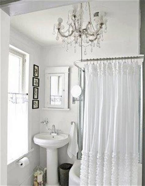 ruffled shower curtain cottage bathroom the lettered