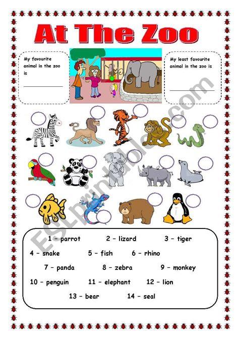 Zoo Animals  Esl Worksheet By Trixie1973