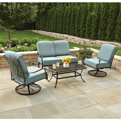 hton bay belcourt 4 metal patio conversation set