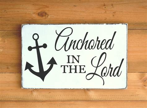 Beach Decor Wood Sign Anchored In The Lord Signs Religious