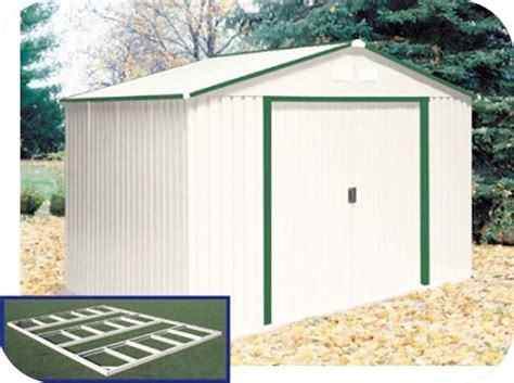 duramax 10x8 delmar metal shed w floor kit green trim