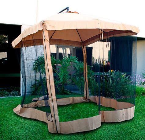 offset patio umbrella instant gazebo with mesh netting gazebo canopy lowes