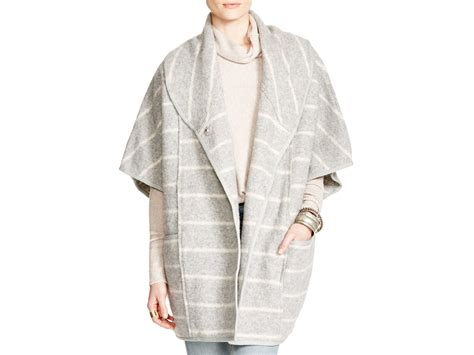 Free People Poncho Style Blanket Coat In Gray