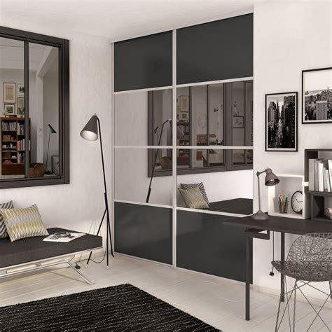 porte de placard coulissante gris graphite miroir spaceo l 98 7 x h 250 cm leroy merlin