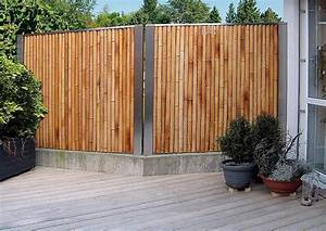 Bambus Edelstahl Sichtschutz : exklusiver bambus zaun als sichtschutz an der terrasse ~ Markanthonyermac.com Haus und Dekorationen