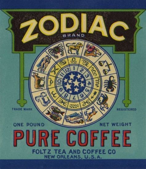 2e Hands Zodiac by Vintage Zodiac Coffee Can Label From New Orleans