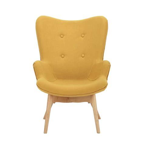 fauteuil vintage enfant en bois et tissu jaune iceberg maisons du monde