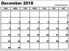 December 2018 Calendar printable calendar monthly
