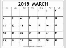 March 2018 Calendar Printable aigb