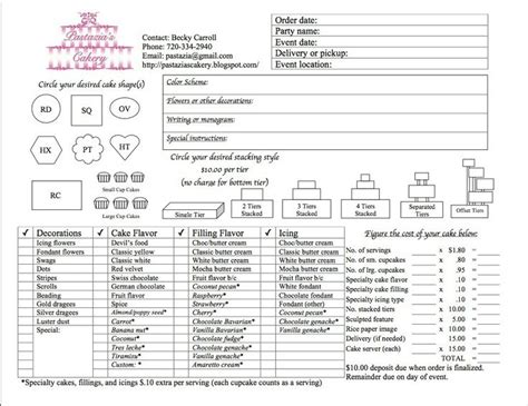 cake pricing chart cake pricing tips charts things to save