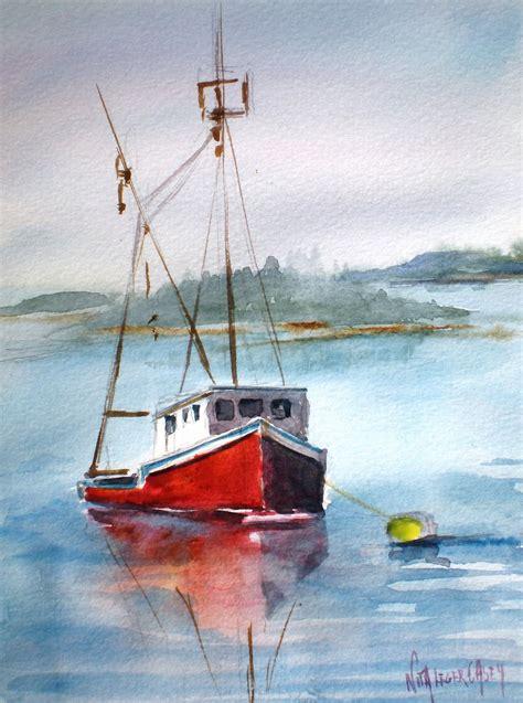 Lobster Boat Art by Nita L 233 Ger Casey