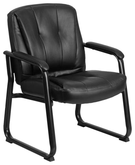 hercules series 500 lb capacity black leather executive side chair sled base contemporary