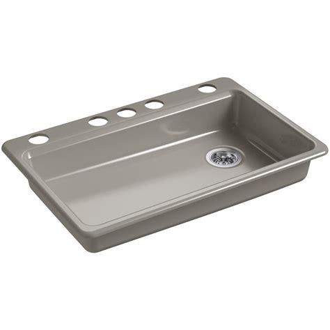 kohler riverby undermount cast iron 33 in 5 single bowl kitchen sink in k 8689 5u