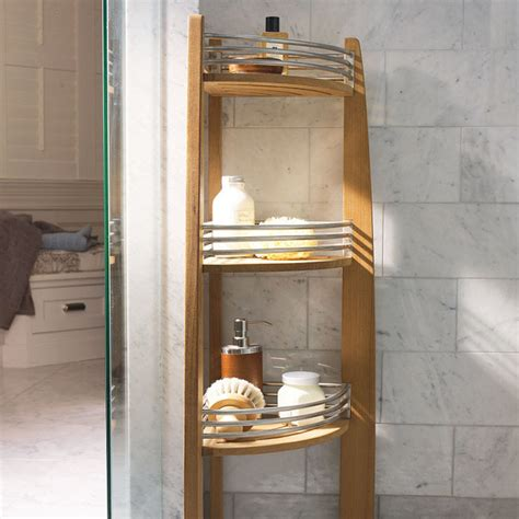teak corner shelf caddy traditional shower caddies