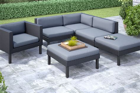 oakland 6 sectional with chaise lounge and chair patio set