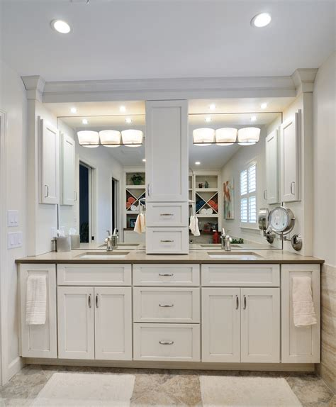 crafty inspiration ideas bathroom vanity with tower linen vanities towers attached storage