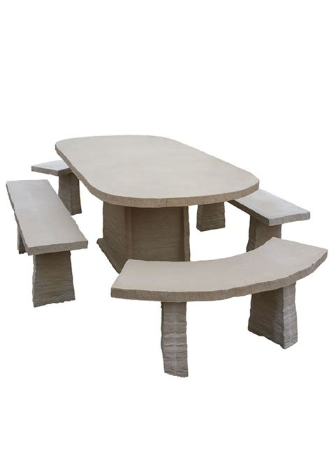 table de jardin ovale en reconstitu 233 e avec bancs 10 places