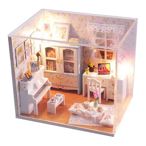 Hoomeda Diy Wood Dollhouse Miniature With Led+furniture