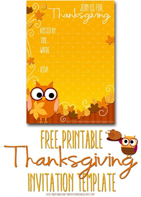 Thanksgivng Dinner Pages Template by Free Printable Party Invitations Thanksgiving Invite Template