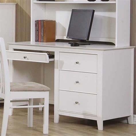 coaster selena computer desk with drawer storage in white 400237