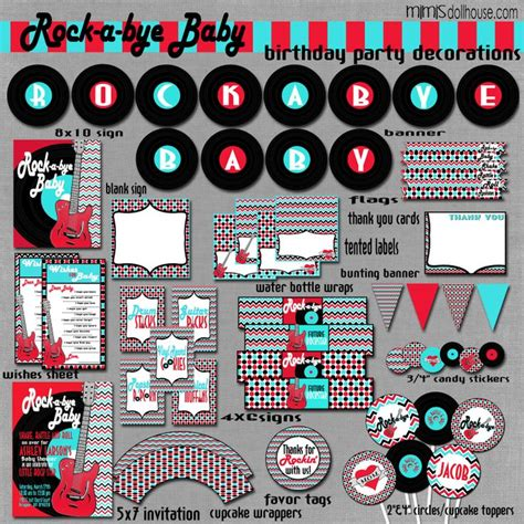 rock and roll baby shower decorations printable rocker decorations pdf jpeg as seen on
