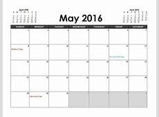 2016 Excel Calendar Planner Free Printable Templates