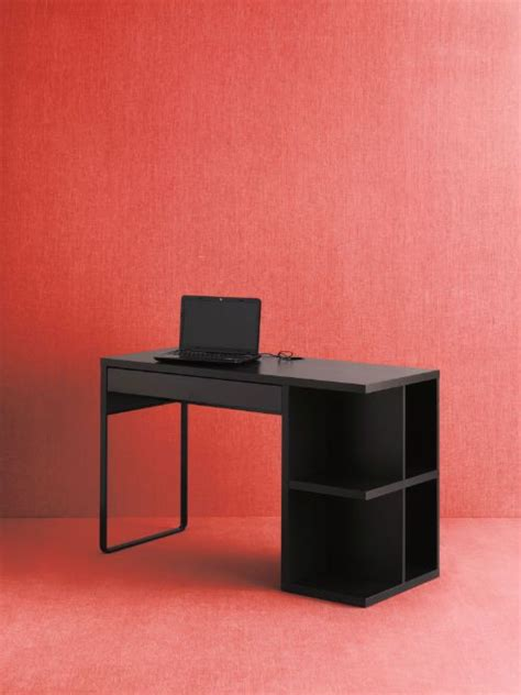 micke desk with integrated storage black brown