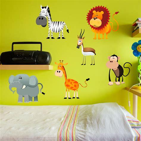 sticker 6 animaux de la jungle stickers animaux animaux de la jungle ambiance sticker