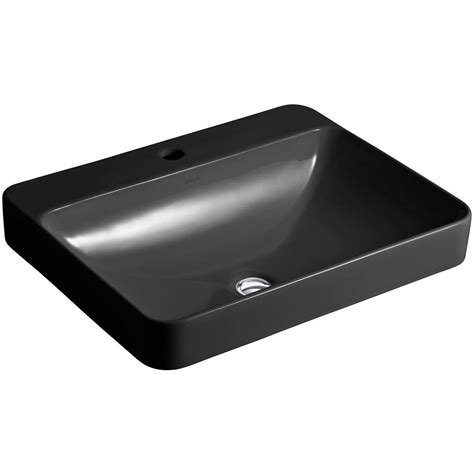 kohler vox rectangle above counter vitreous china vessel sink in black black with overflow drain