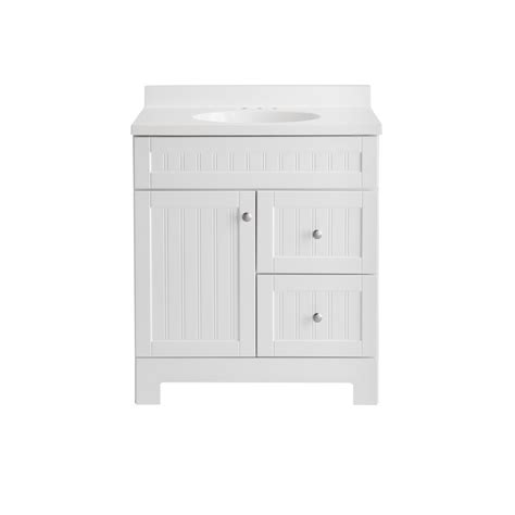 shop style selections ellenbee 31 in white integral single sink bathroom vanity with cultured